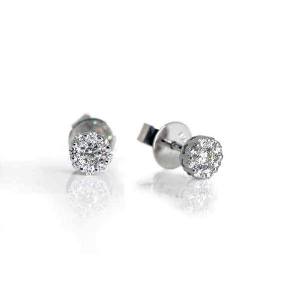 14KW CLUSTER STUD EARRINGS W/ DIA
