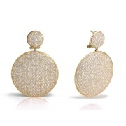14KY DISC STATEMENT DROP EARRINGS W/ DIA