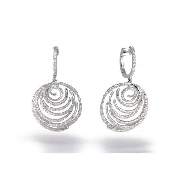 14KW CIRCLE SWIRL EARRINGS W/ DIA