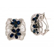 14KW OMEGA EARRINGS W/ SAPP & DIA