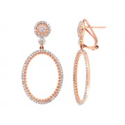 14KR OVAL DROP EARRINGS W/ DIA