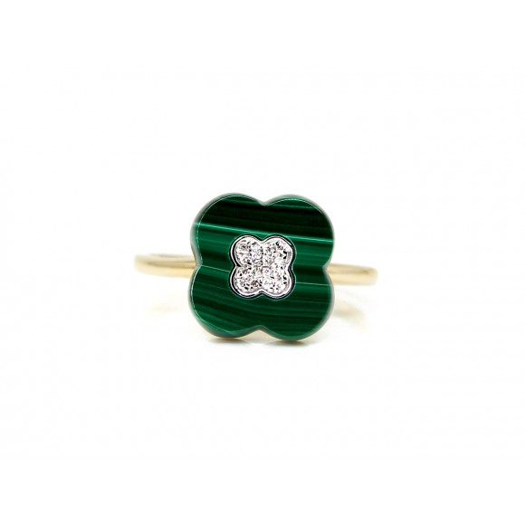 14KY CLOVER LEAF COCKTAIL RING W/ MA & DIA