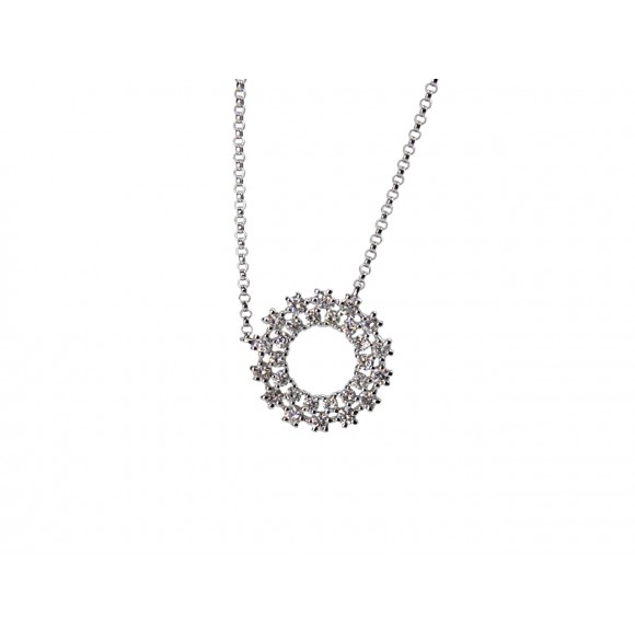 14KW CIRCLE-CHARM NECKLACE W/ DIA