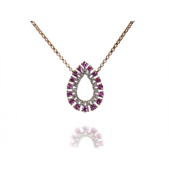 14KR OPEN PEAR NECKLACE W/ PS & DIA