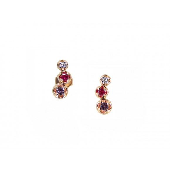 14KR TINY STUD EARRINGS W/ PS, PR & DIA