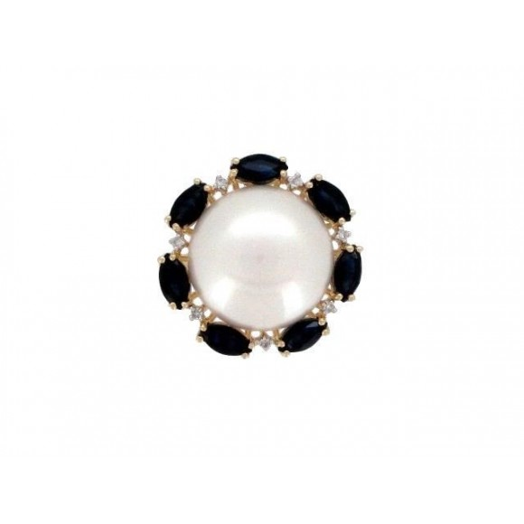 14KY PEARL RING W/ GEM & DIA
