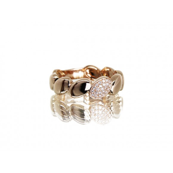 14KR OVAL BAND RING W/ DIA