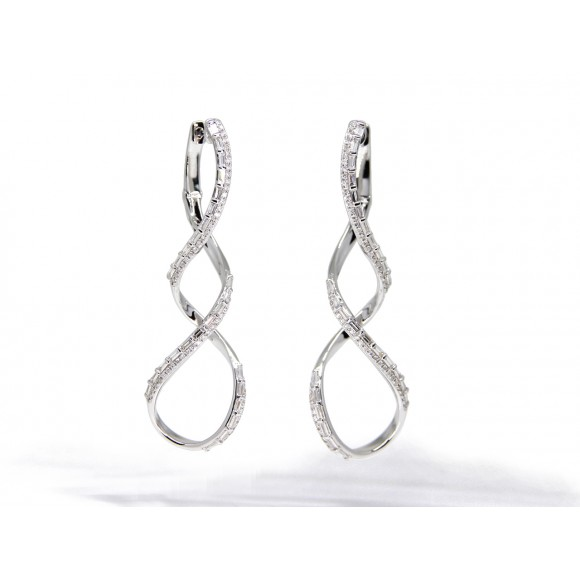 14KW TWISTED SWIRL EARRINGS W/ DIA