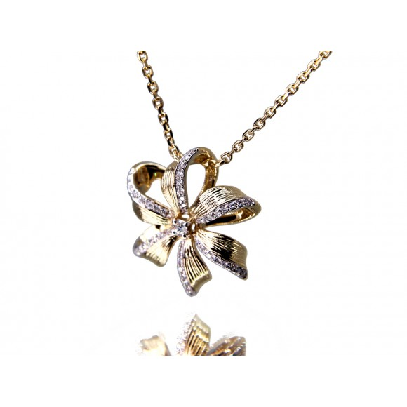 14KY FLORAL BOW NECKLACE W/ DIA
