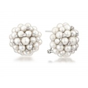 14KW CLUSTER DOME PEARL EARRINGS W/ DIA