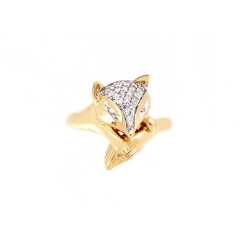 14KY FOX RING W/ DIA
